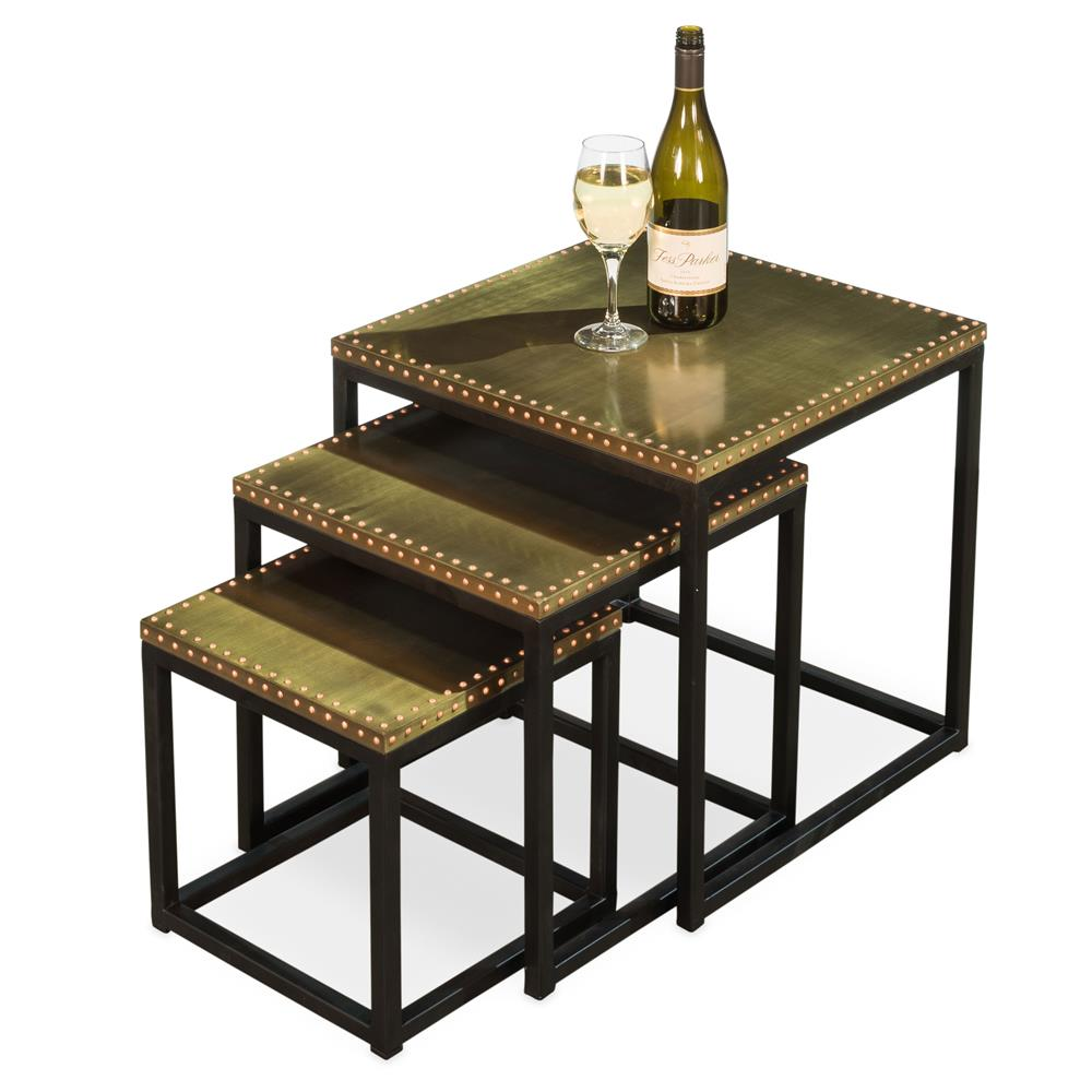 Zim industrial loft brass iron nesting table kathy kuo home