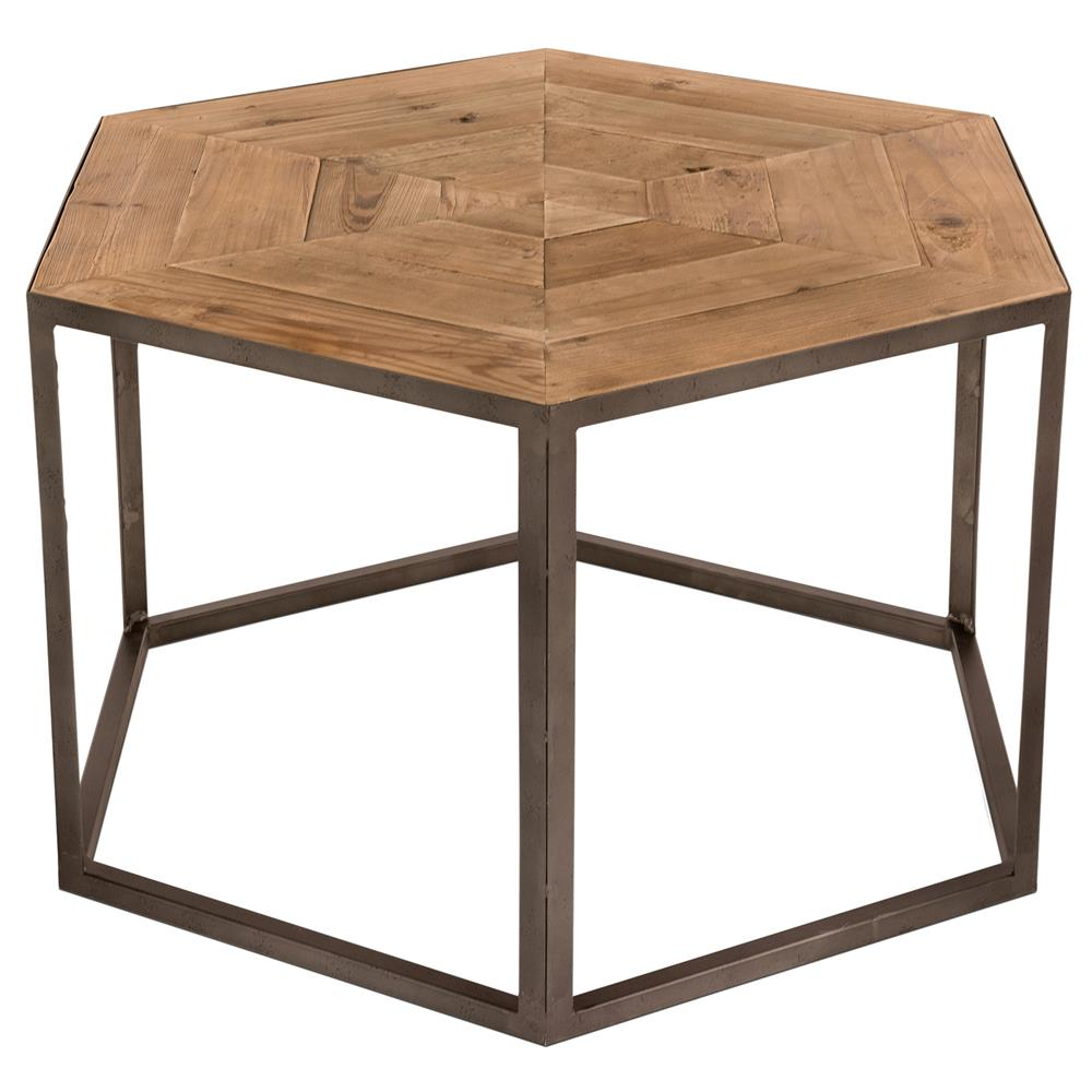 Shiloh Rustic Pine Metal Hexagonal Coffee Table Kathy Kuo Home