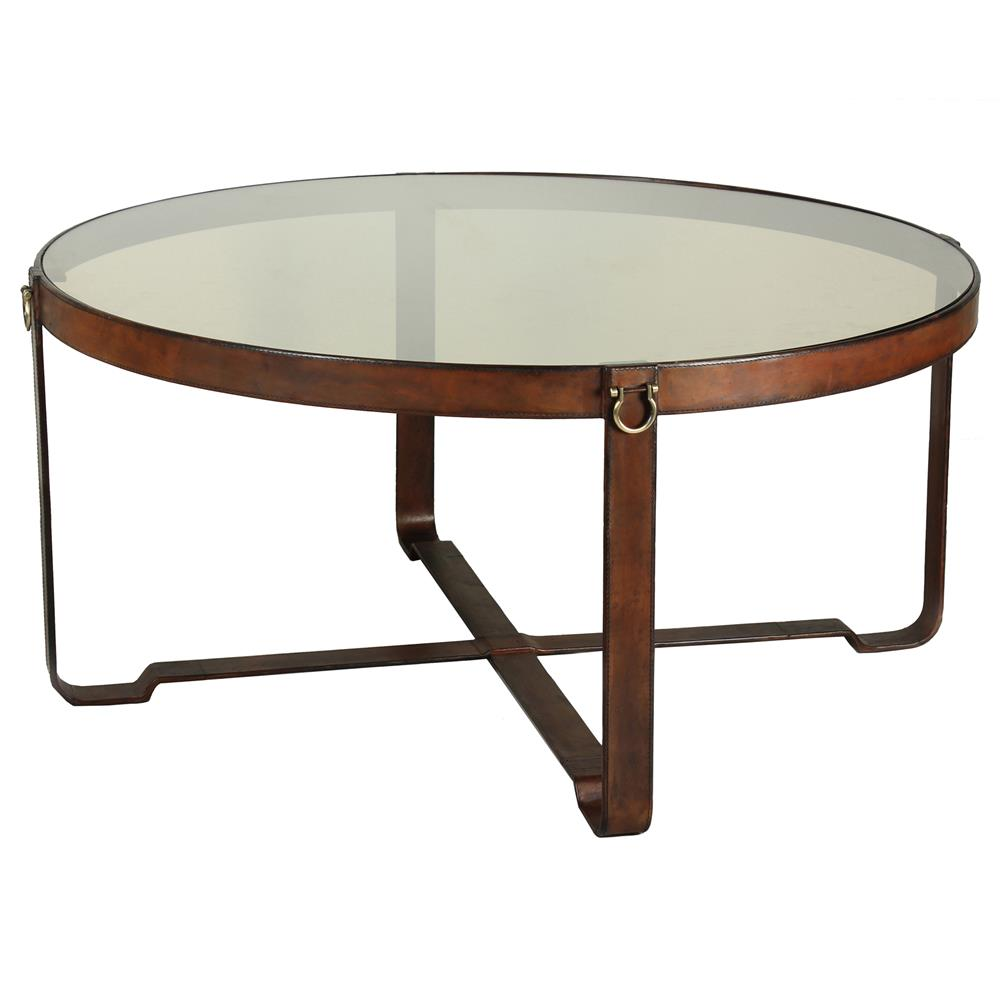 olympus rustic lodge leather harness glass round coffee table kathy kuo home. Black Bedroom Furniture Sets. Home Design Ideas