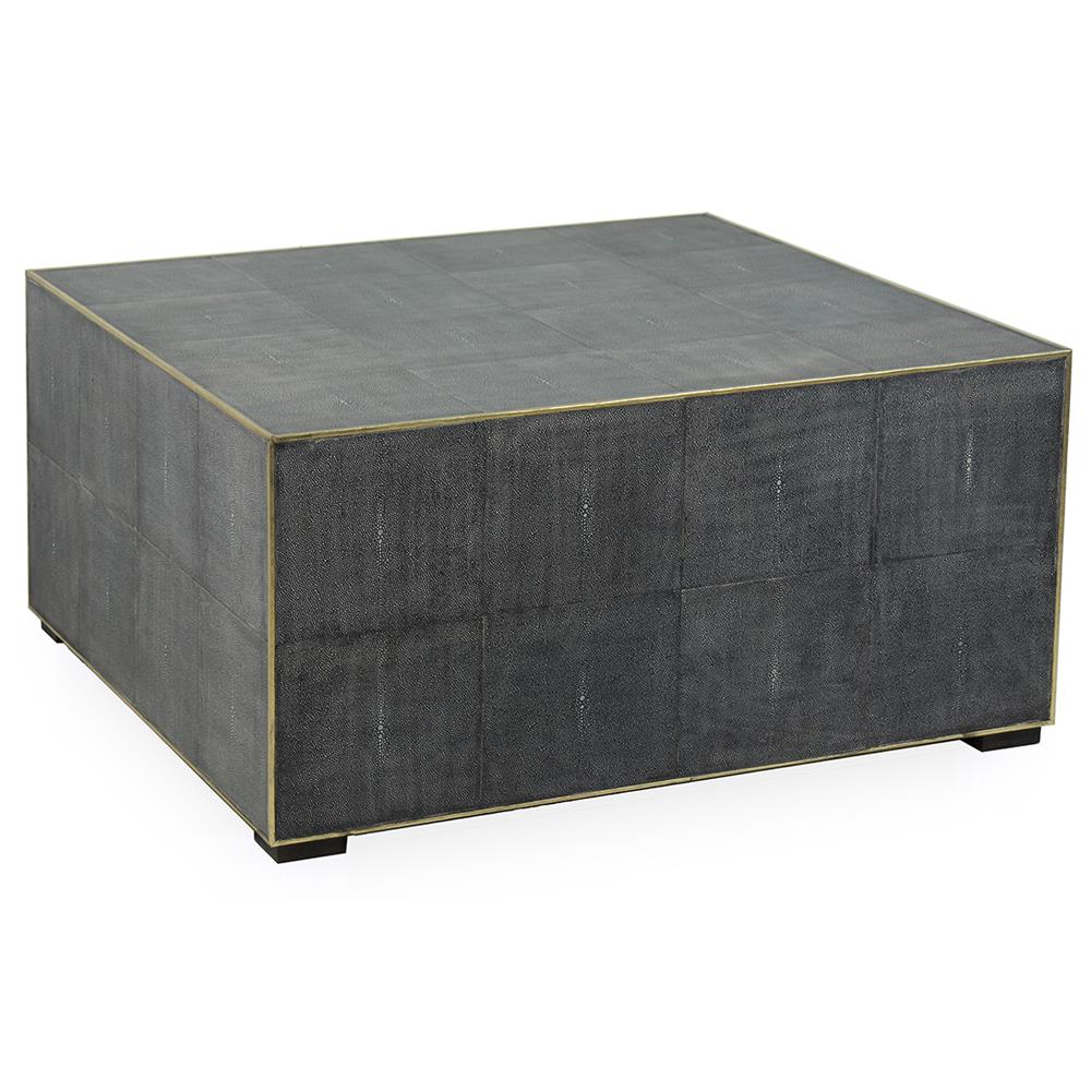 Square Coffee Table Grey: Marguerite Modern Classic Antique Grey Leather Square