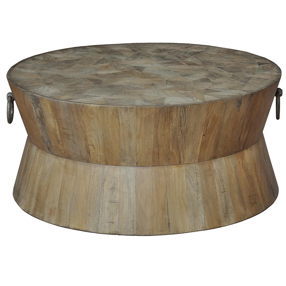 Drum Shaped Coffee Table.Thea Rustic Lodge Round Wood Coffee Table