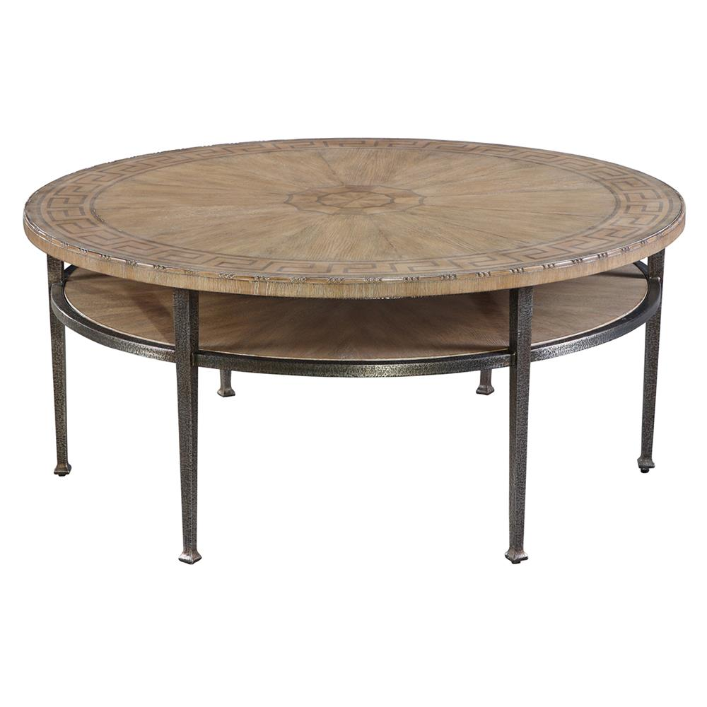 Francis rustic lodge round iron coffee table kathy kuo home Rustic round coffee table