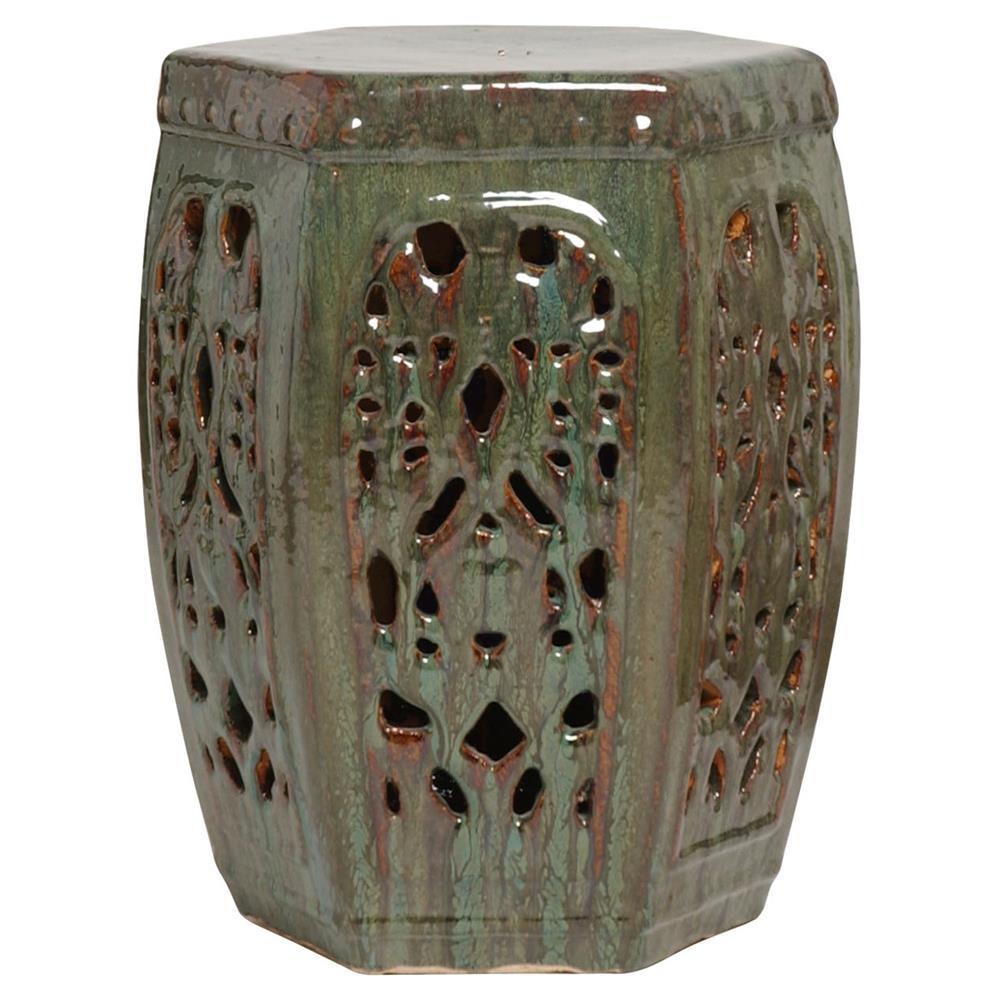 Hexagon Pierced Asian Braided Garden Stool Antique Green Moss