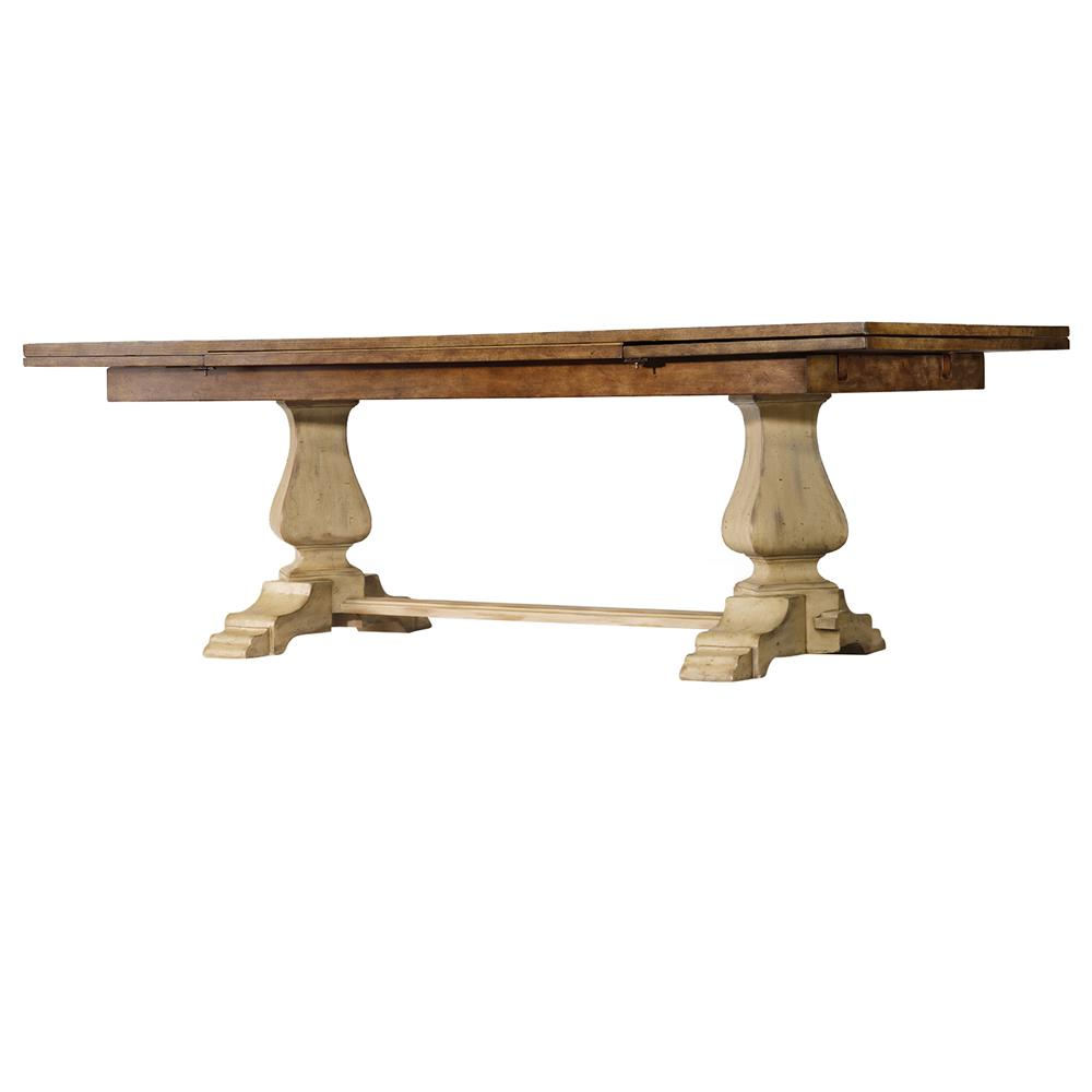 Claudice french country trestle dining table kathy kuo home for French country dining table