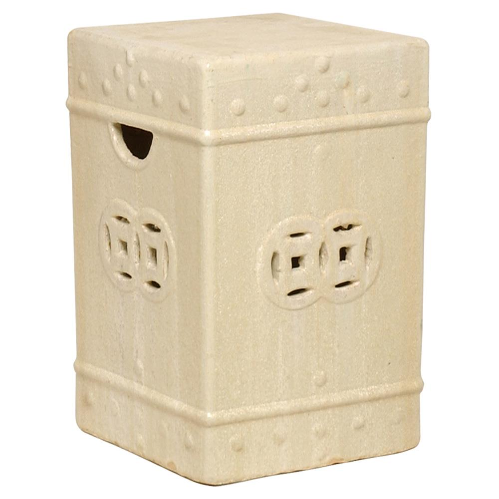 Square Asian Garden Stool End Table Antique White