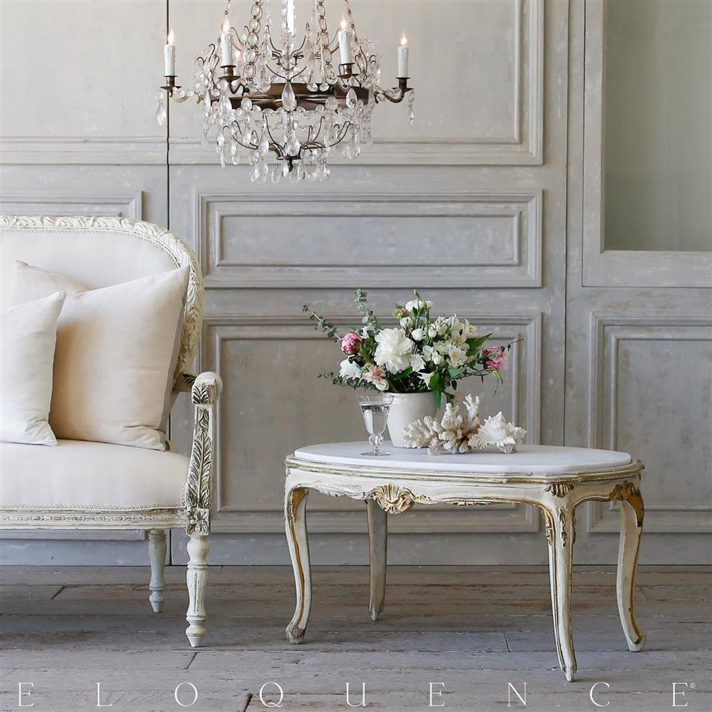 French country style eloquence vintage coffee table with marble french country style eloquence vintage coffee table with marble top 1940 kathy kuo home geotapseo Image collections