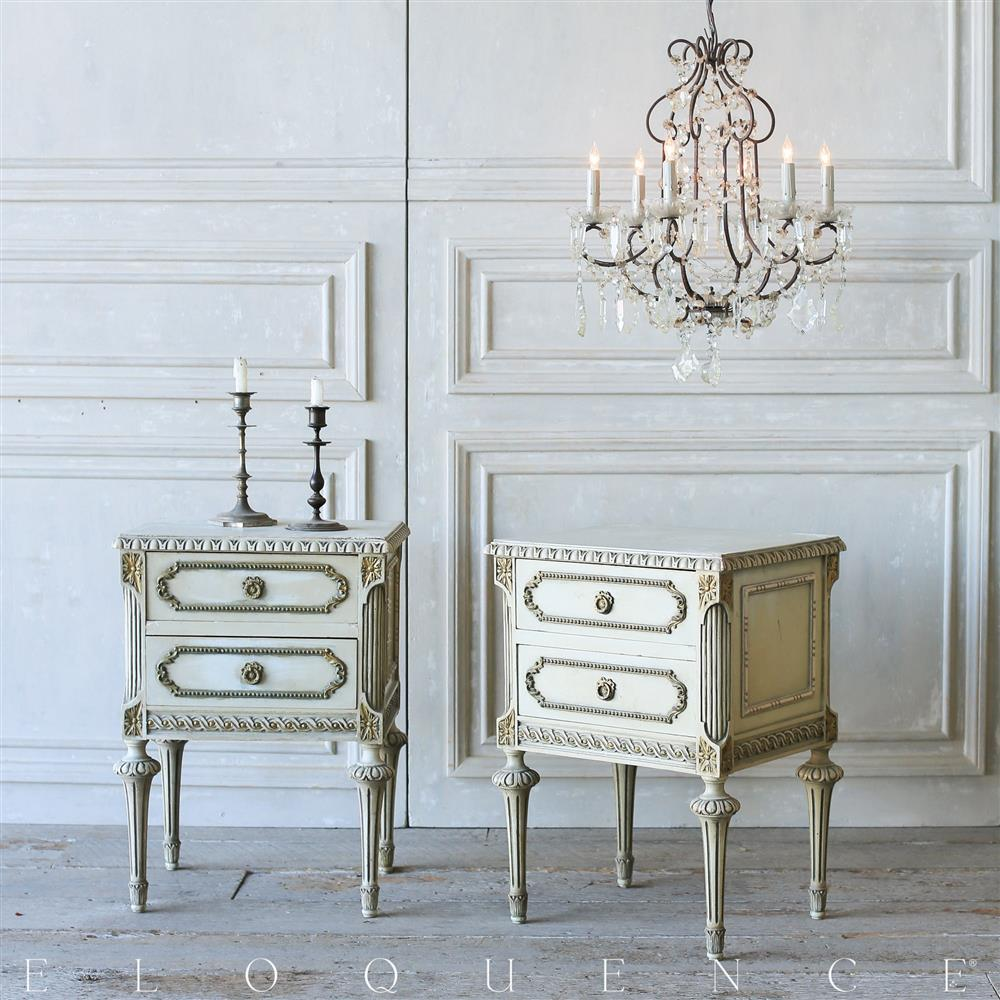 French Country Style Eloquence Pair of Vintage Nightstands 1940