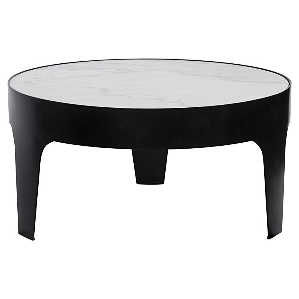 terrene modern classic black metal quartz round coffee table kathy kuo home. Black Bedroom Furniture Sets. Home Design Ideas