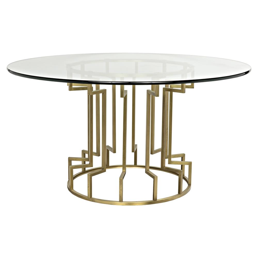 Lenelle Hollywood Regency Gold Glass Round Dining Table | Kathy Kuo Home