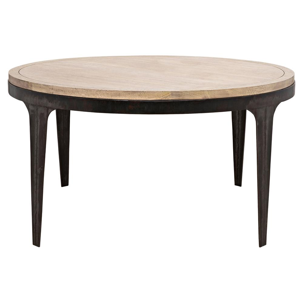 lavenita rustic washed walnut black metal round dining table. Black Bedroom Furniture Sets. Home Design Ideas