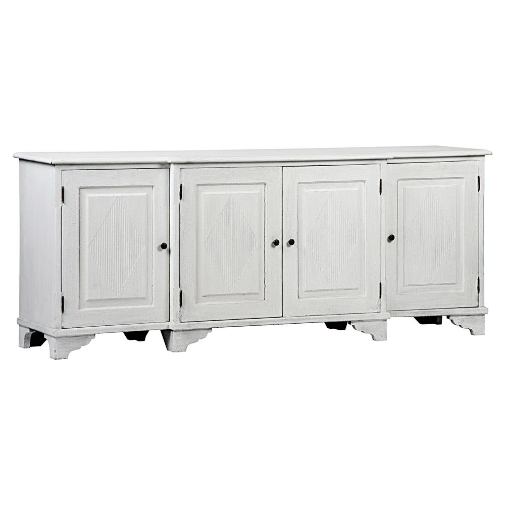 Oldina French Country Weathered White Mahogany 4 Door Sideboard | Kathy Kuo  Home ...