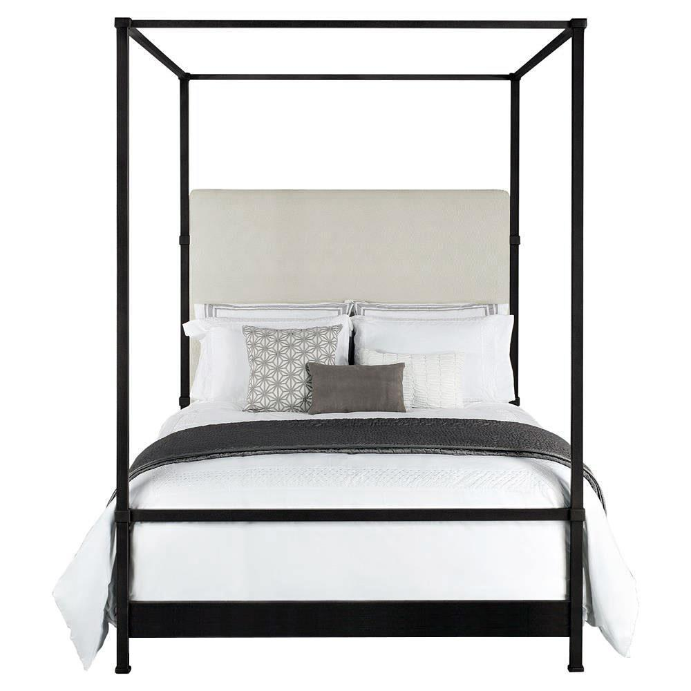 quade upholstered iron canopy four poster bed king kathy kuo home. Black Bedroom Furniture Sets. Home Design Ideas