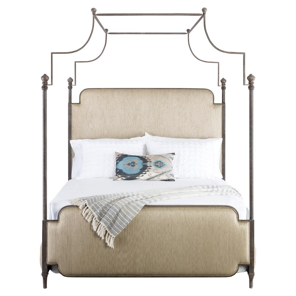 Kensington Modern Classic Beige Upholstered Canopy Bed - Queen | Kathy Kuo Home  sc 1 st  Kathy Kuo Home & Kensington Modern Classic Beige Upholstered Canopy Bed - Queen ...