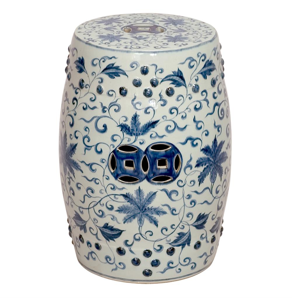 Round Blue And White Lotus Flowers Ceramic Garden Stool