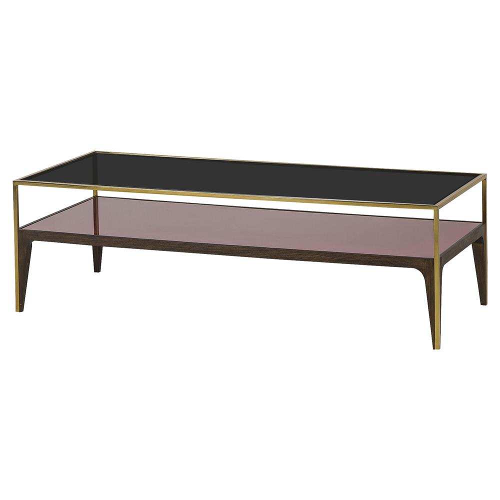 Resource Decor Silhouette Modern Classic Gold Trim Smoked Glass - Glass coffee table with gold trim