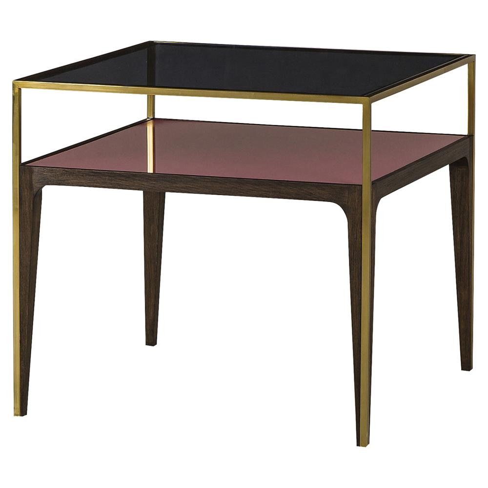 Resource Decor Silhouette Modern Classic Gold Trim Smoked Glass Side Table Kathy Kuo Home