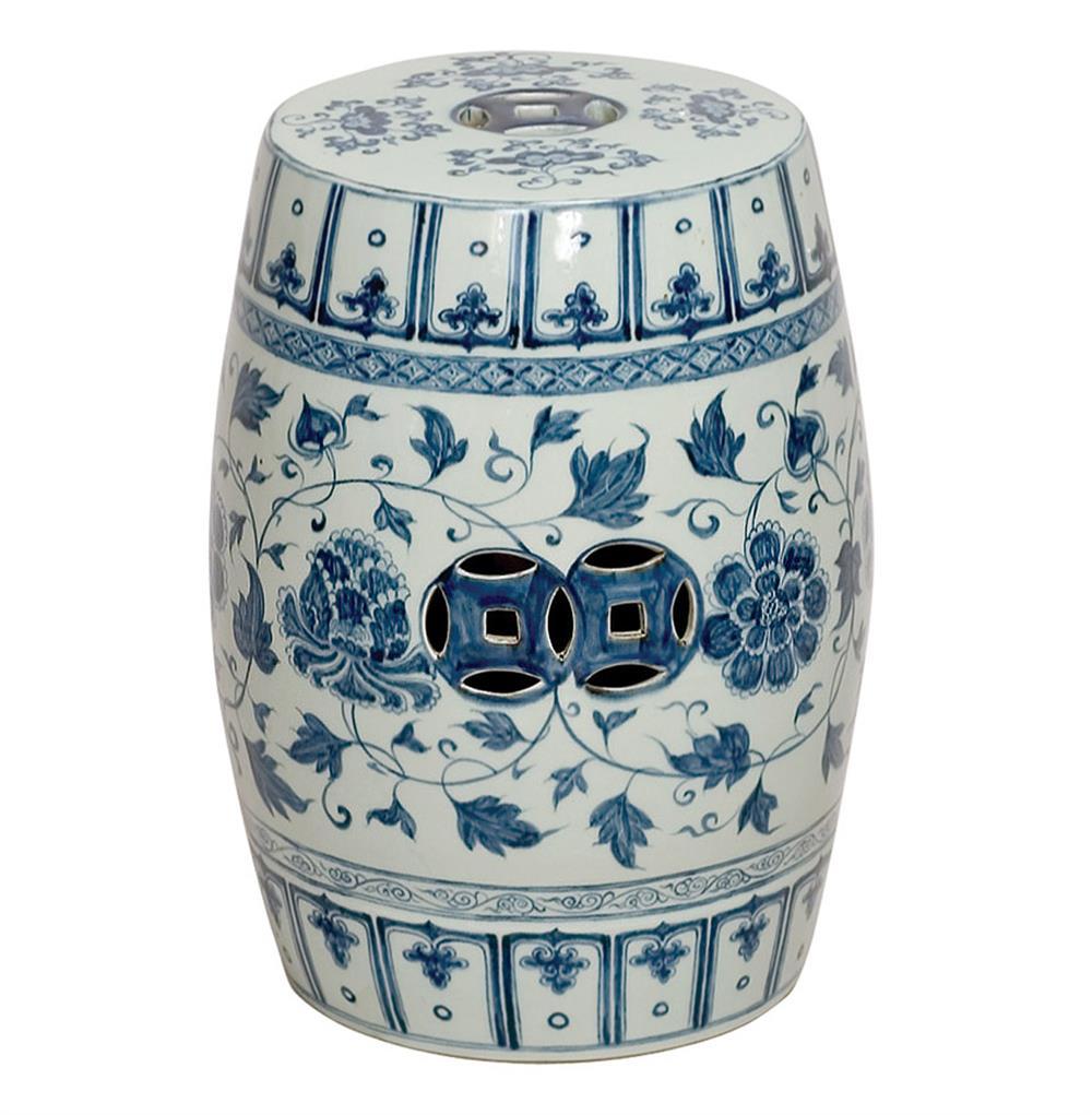 Round Blue And White Floral Vines Ceramic Garden Stool