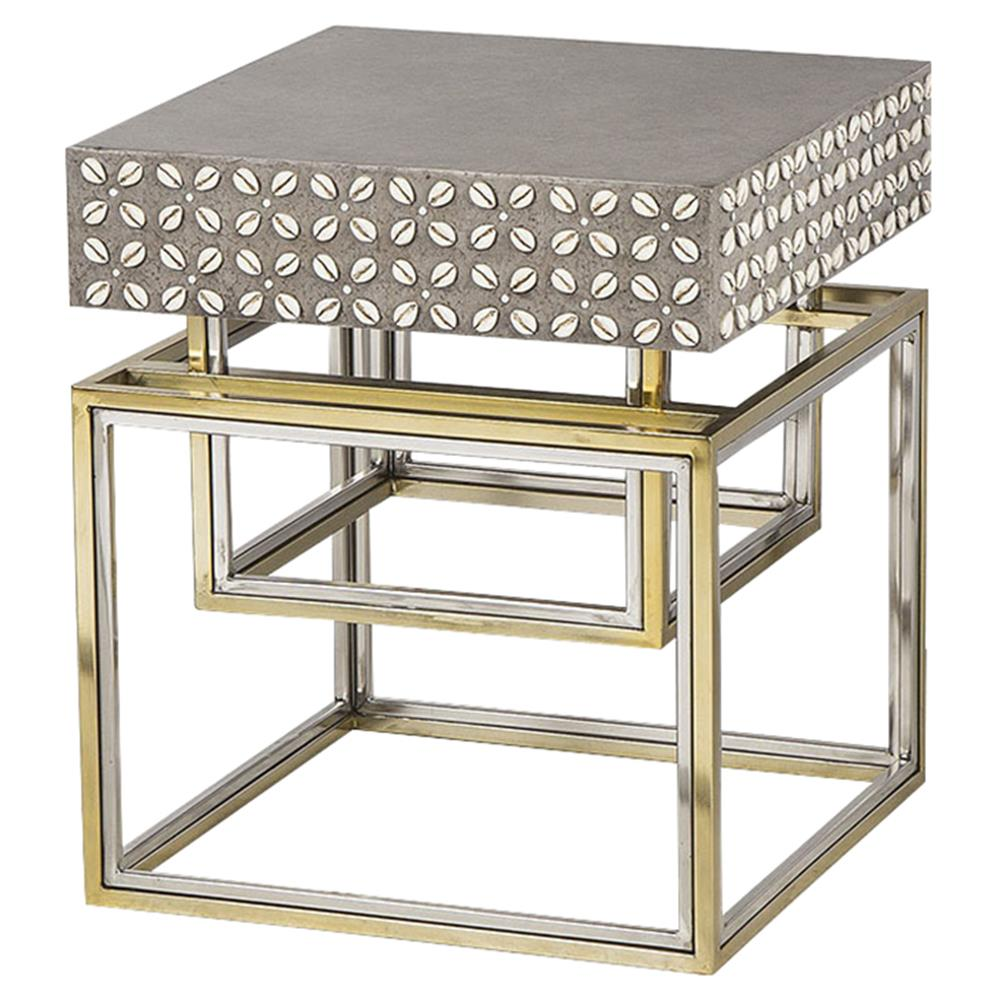 Isla Hollywood Regency Concrete Top Shell Detailed Side Table | Kathy Kuo  Home