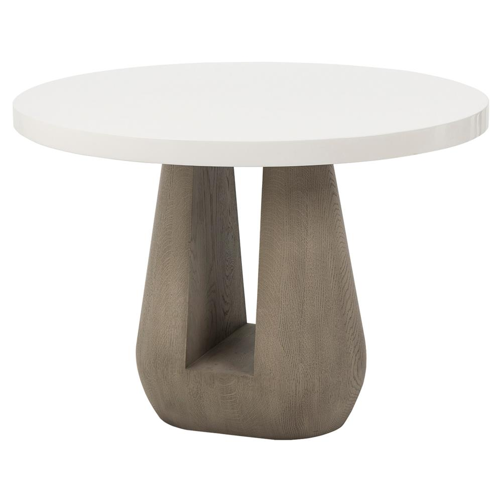 Kelly hoppen gray modern classic taupe oak high gloss white lacquered top side end table