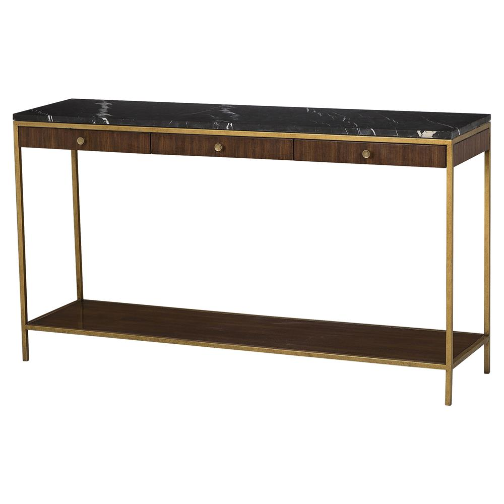 Maison 55 Copeland Mid Century Walnut Gold Trim Marble Top Console Table Kathy Kuo Home