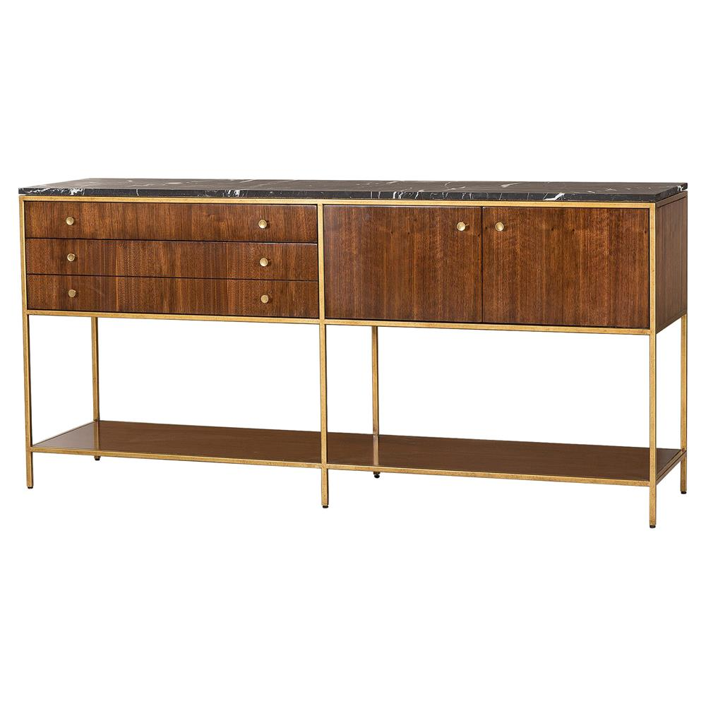 Maison 55 Copeland Mid Century Walnut Gold Trim Marble Top Buffet Kathy Kuo Home