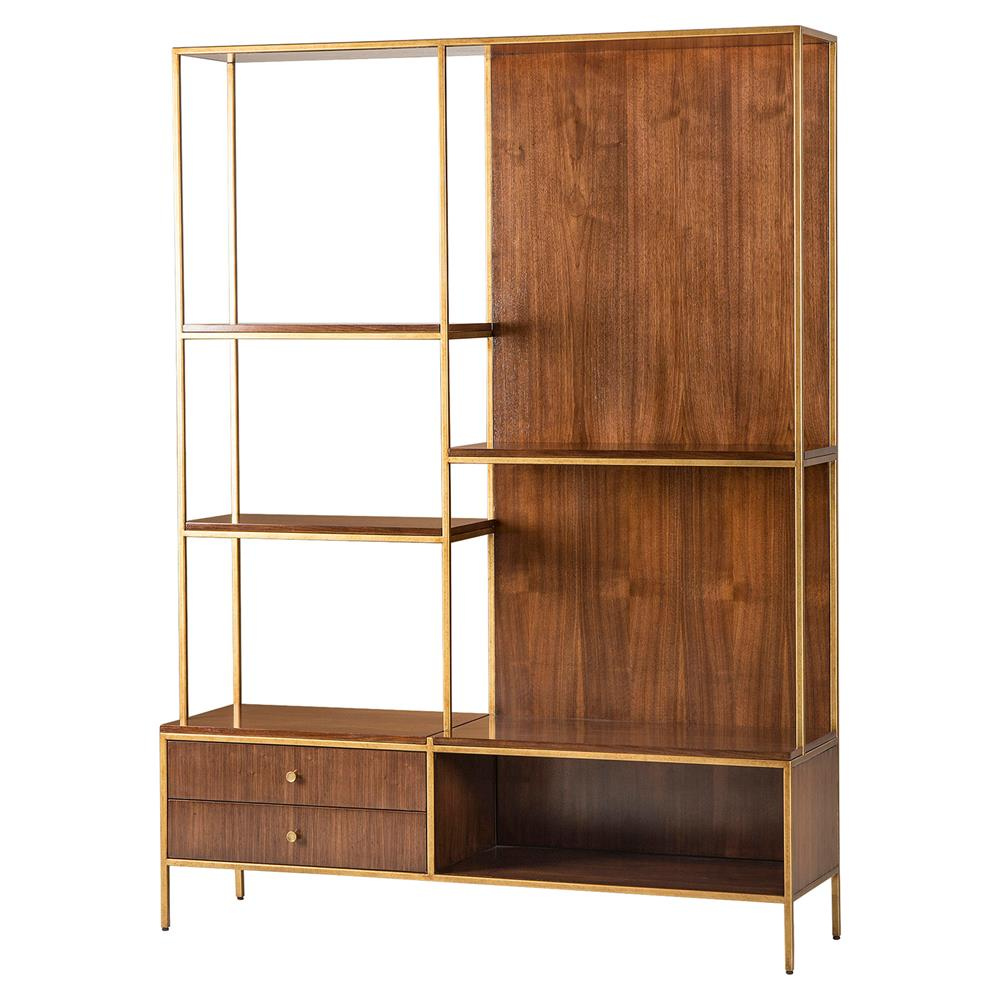 celia modern walnut gold trim etagere kathy kuo home. Black Bedroom Furniture Sets. Home Design Ideas