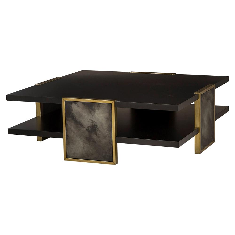 Kendall Hollywood Regency Black Gold Trim Coffee Table