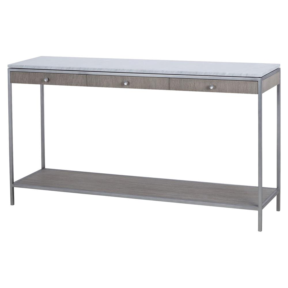 Paisley Classic Grey Oak Marble Top 3 Drawer Console Table | Kathy Kuo Home