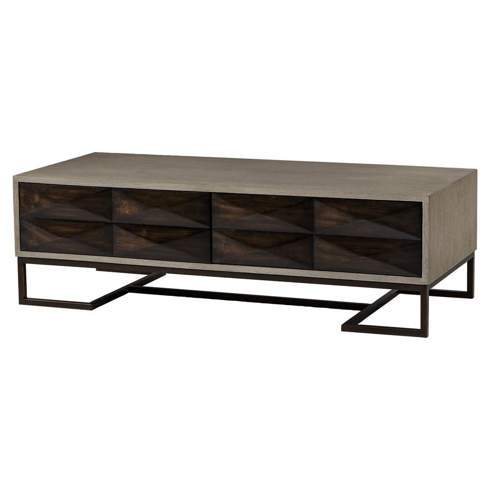 Rollins Industrial Loft Bronze Iron Coffee Table Kathy Kuo: Maison 55 Casey Industrial Loft Open Grey Grain 2 Drawer