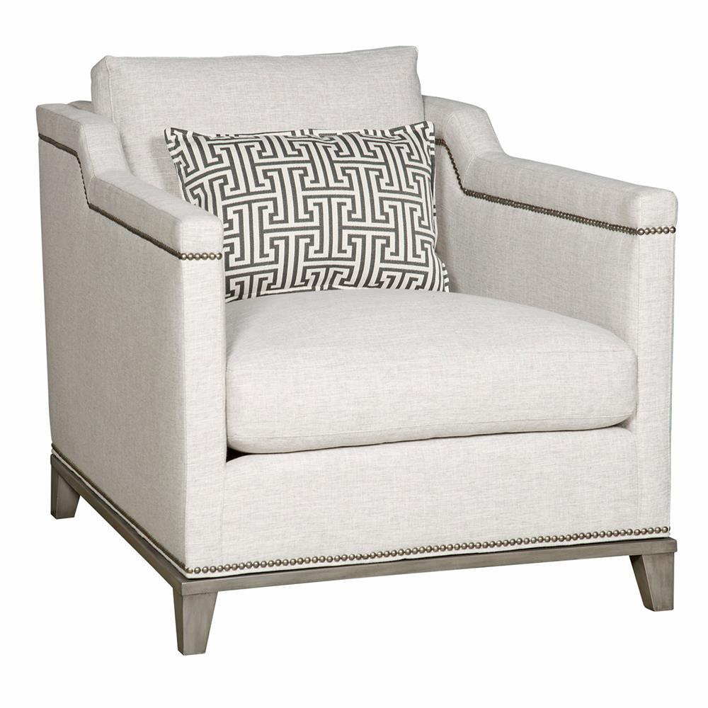Vanguard Humphreys Modern Classic Nailhead Trim Ivory Linen Accent Club Chair