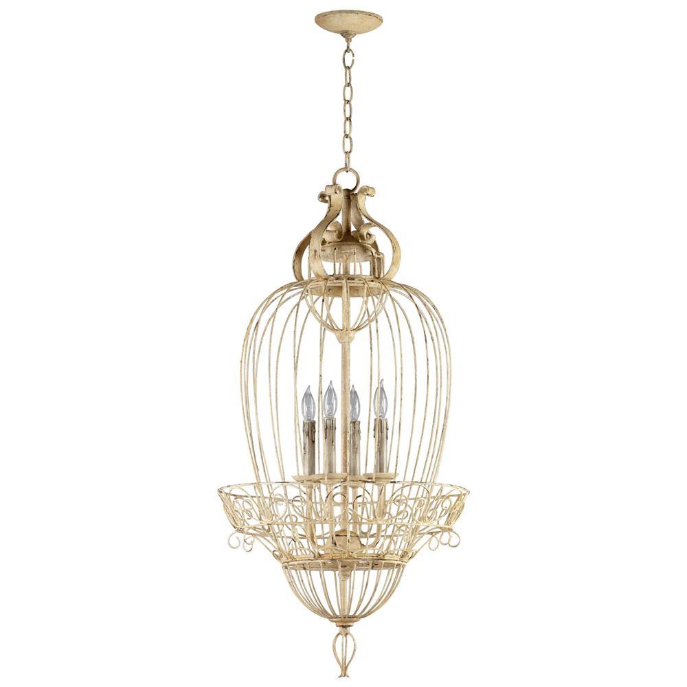 Antique Foyer Chandelier : Vintage foyer antique white bird cage light chandelier