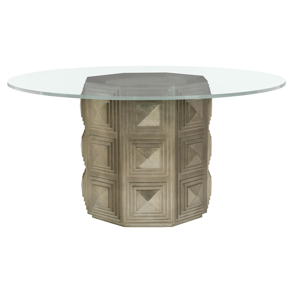 Gwyneth Hollywood Regency Round Clear Glass Top Dining Table | Kathy Kuo  Home ...