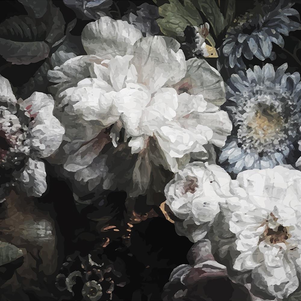Anewall Peony Modern Classic Dark Floral Wallpaper