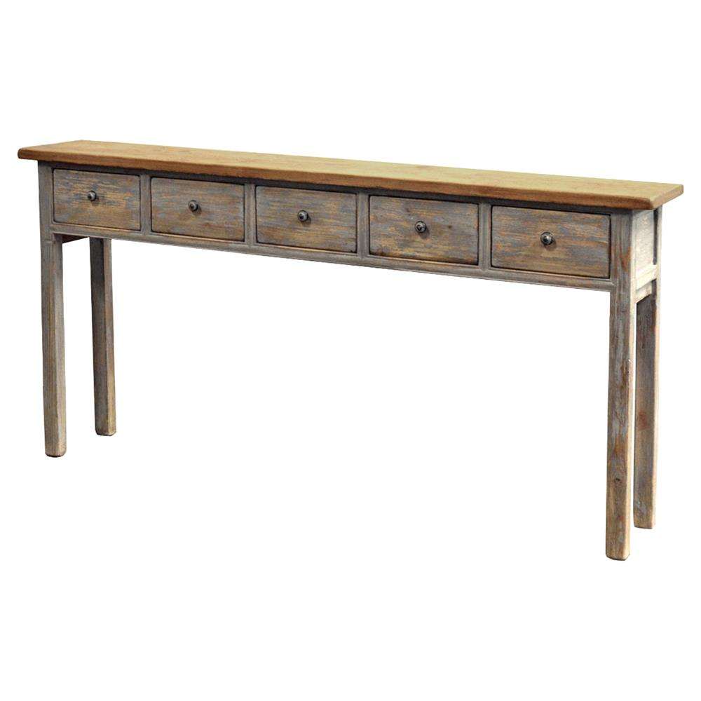 Superbe Volver French Country Narrow 5 Drawer Pine Console Table | Kathy Kuo Home