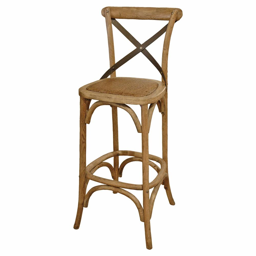 Valois french country metal cross oak bar stool kathy kuo home