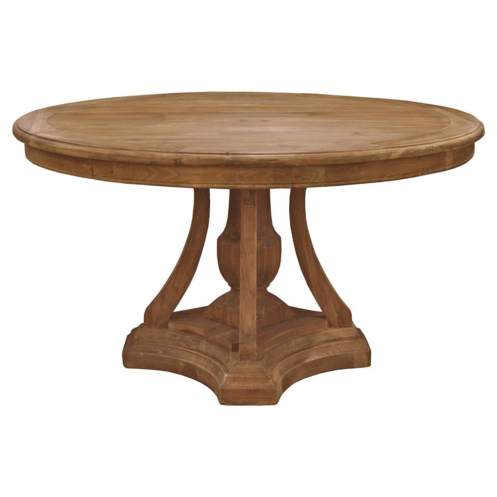 French Country Round Dining Table: Maxime French Country Pine Reclaimed Elm Round Pedestal