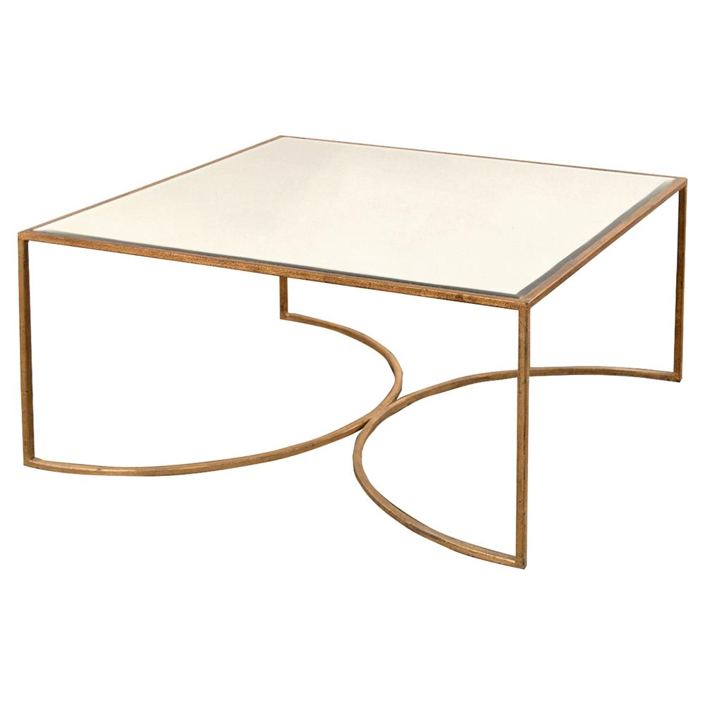 Isadora Hollywood Regency Gold Framed Mirrored Square Coffee Table | Kathy  Kuo Home
