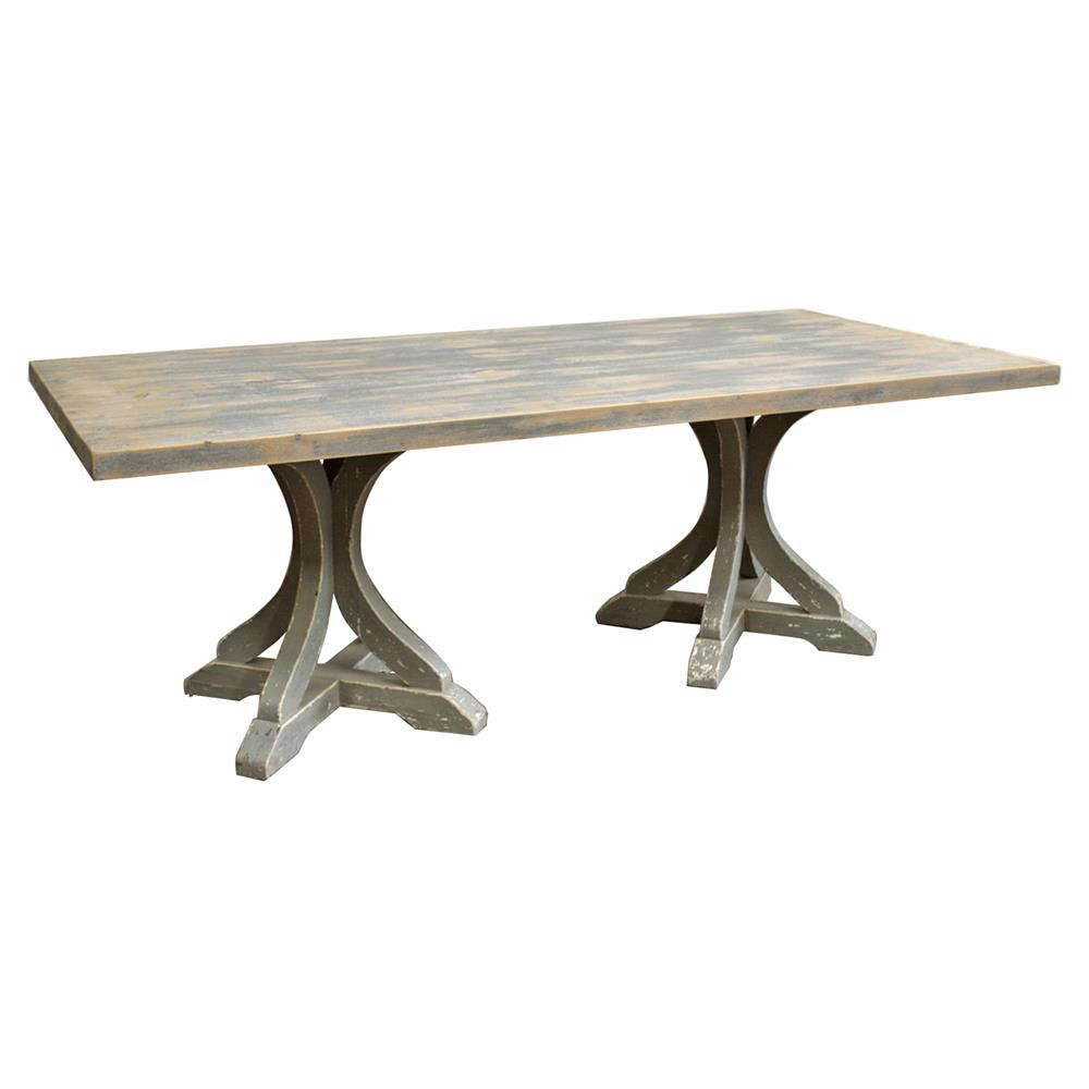 Rivoli french country rectangular double pedestal dining table - Rectangle pedestal dining table ...