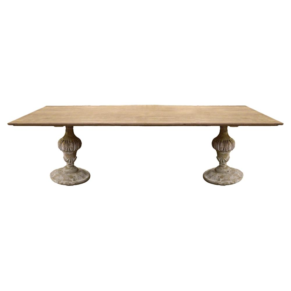 Pyrenee french country rectangular double pedestal dining for Rectangular pedestal dining table