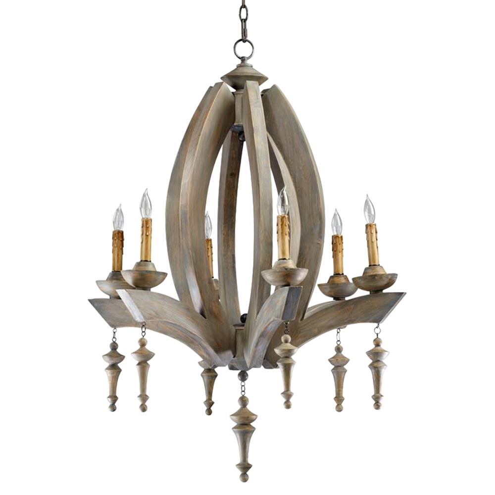 Manning french country oval carved wood 6 light chandelier French country chandelier