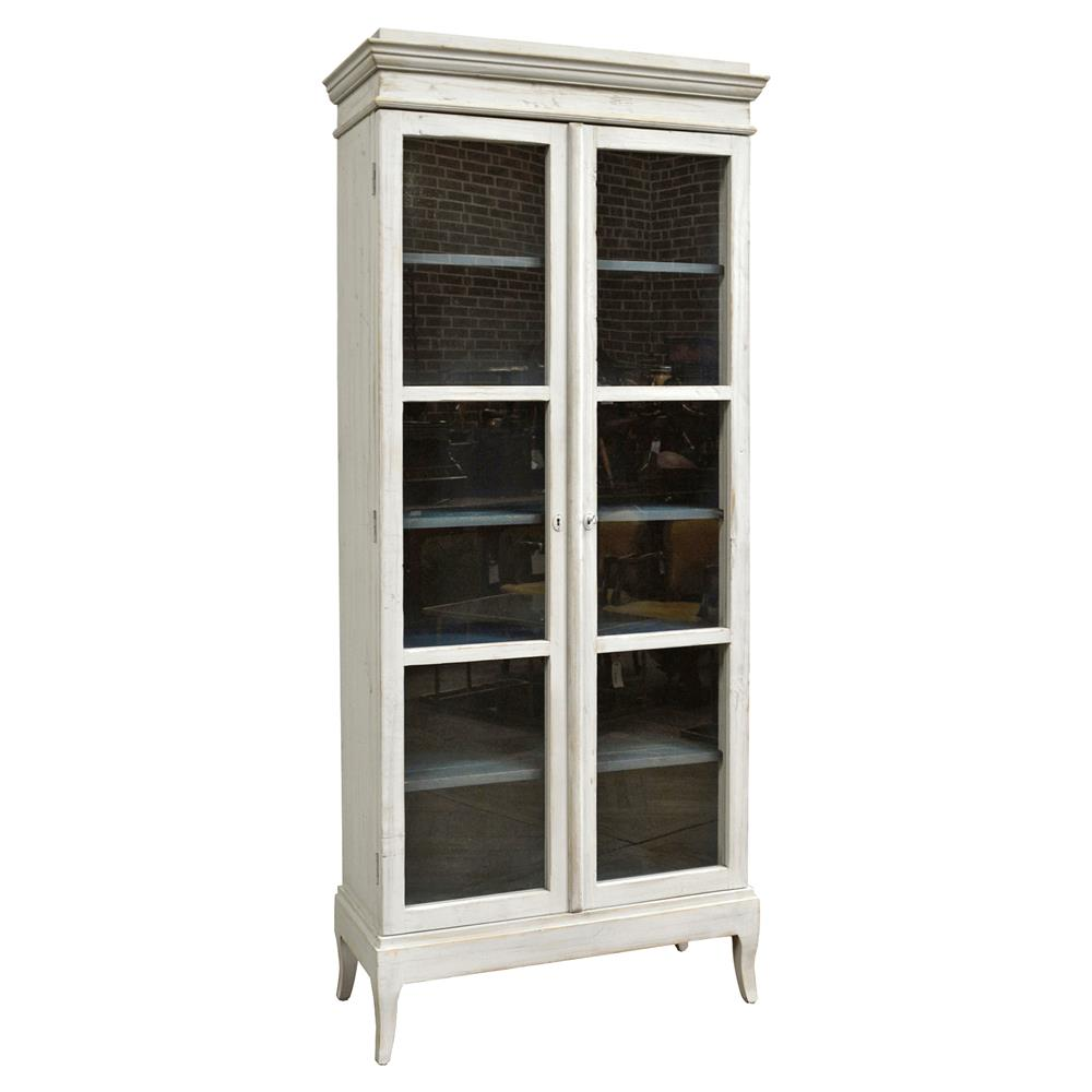 Yann French Country Reclaimed Pine 6 Shelf White Display Cabinet Kathy Kuo Home