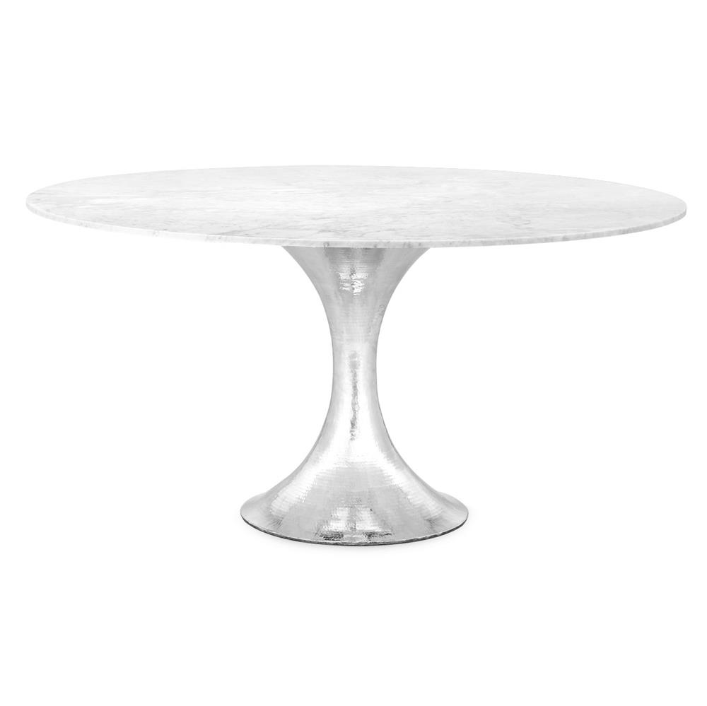 Quinton Silver Tulip White Marble Round Dining Table