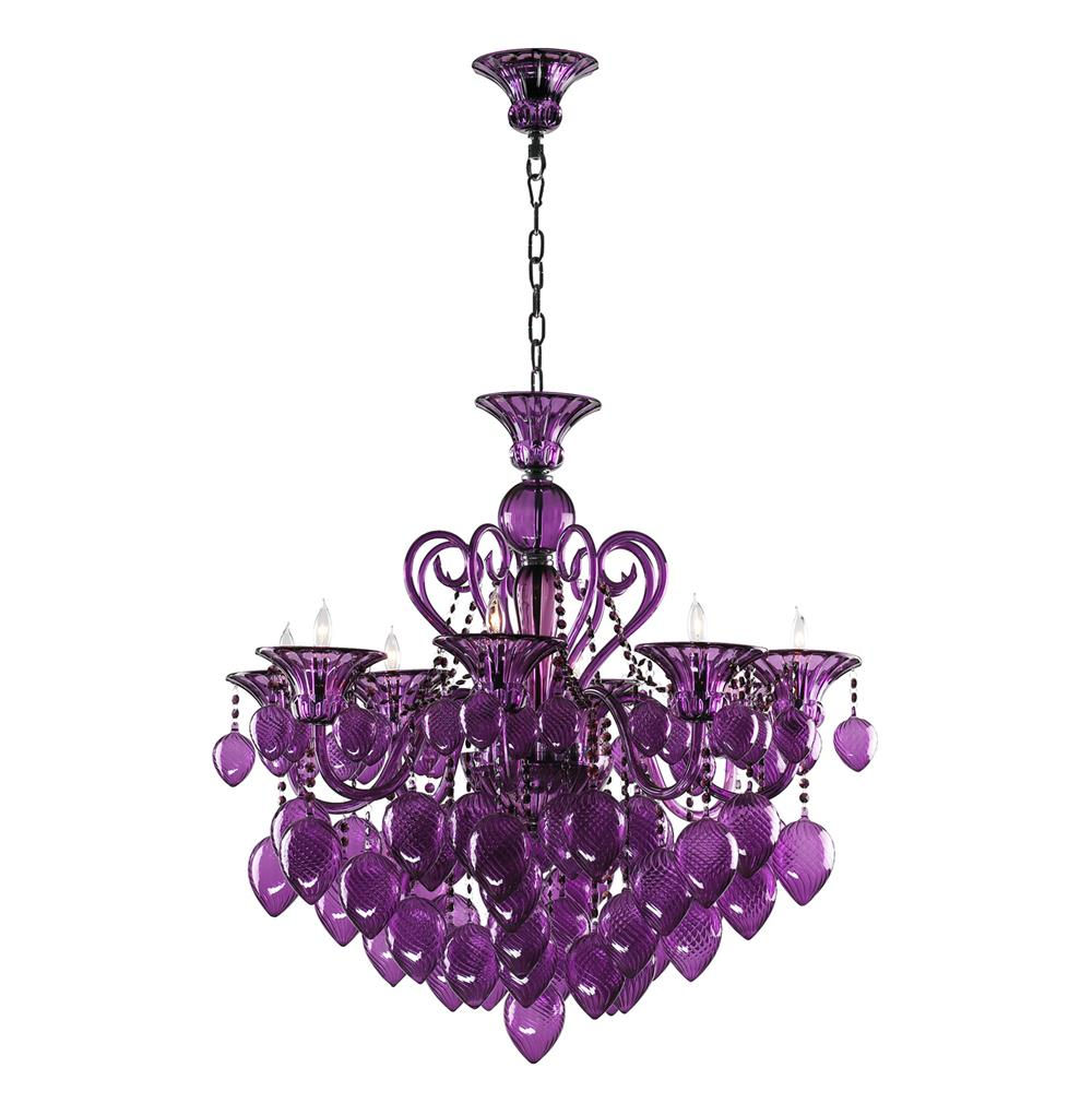 Bella vetro 8 light purple murano glass chandelier kathy kuo home mozeypictures Images