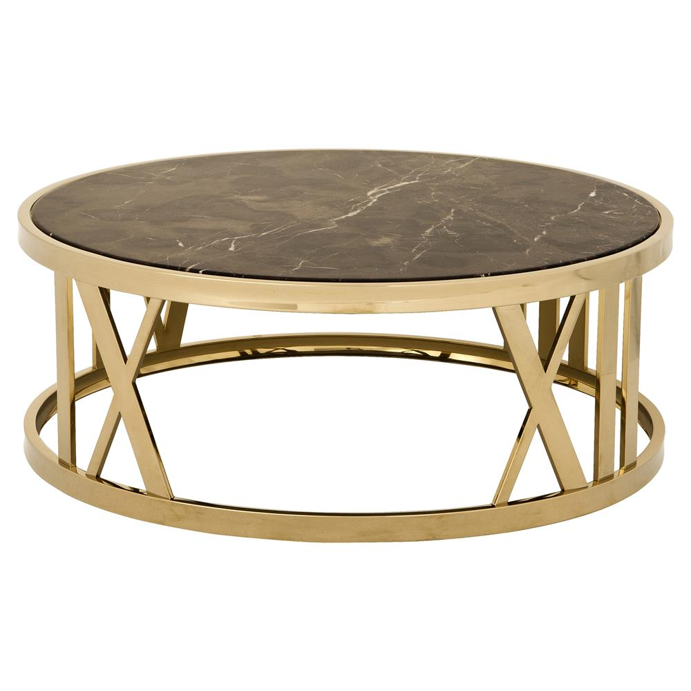 Eichholtz Baccarat Hollywood Regency Brown Marble Gold Round Coffee Table Kathy Kuo Home