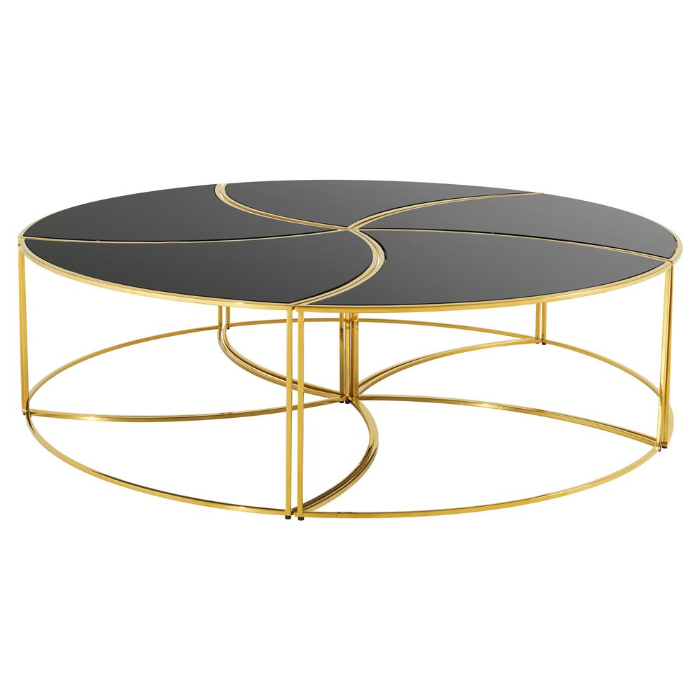 Eichholtz Carter Hollywood Regency Black Gl Gold Round Coffee Table Kathy Kuo Home