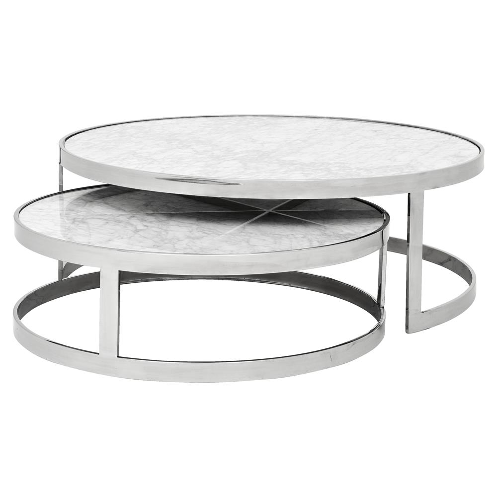 Eichholtz Fletcher Modern Classic White Marble Top Round Nesting Coffee Table Kathy Kuo Home