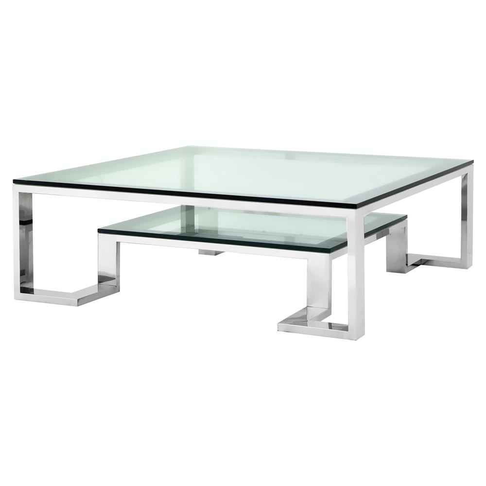 Glass And Silver Square Coffee Table: Eichholtz Huntington Hollywood Regency Glass Top 2 Tier