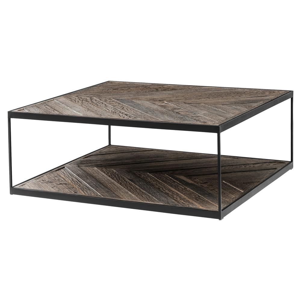 Eichholtz la varenne rustic weathered oak square single shelf coffee table kathy kuo home Square coffee table with shelf