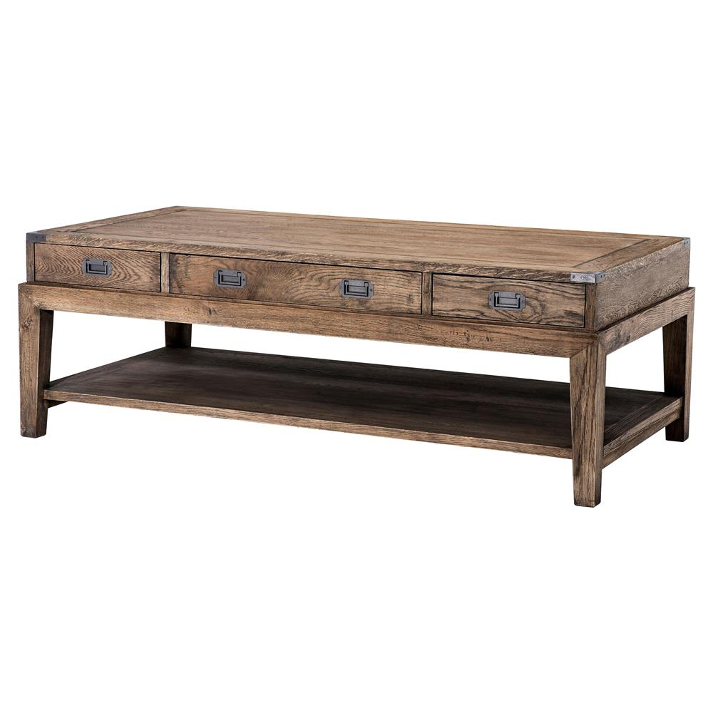 Eichholtz Military Rustic Lodge Smoked Oak 3 Drawer Rectangular Coffee Table Kathy Kuo Home