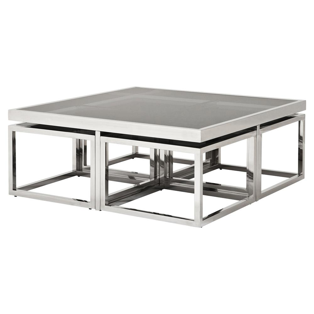 Delicieux Eichholtz Monogram Modern Classic Smoked Glass Square Nesting Silver Coffee  Table | Kathy Kuo Home ...